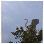 Great Blue Heron Landing on Nest Napkin