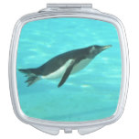 Penguin Swimming Underwater Compact Mirror
