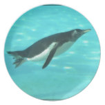 Penguin Swimming Underwater Dinner Plate