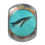 Penguin Swimming Underwater Jelly Belly Candy Jar