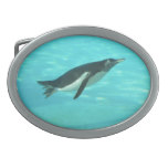 Penguin Swimming Underwater Oval Belt Buckle