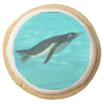 Penguin Swimming Underwater Round Shortbread Cookie