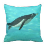 Penguin Swimming Underwater Throw Pillow
