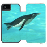 Penguin Swimming Underwater Wallet Case For iPhone SE/5/5s