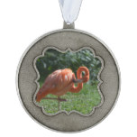 Perfect Pink Flamingo Pewter Ornament
