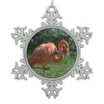 Perfect Pink Flamingo Snowflake Pewter Christmas Ornament