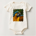 Ruffled Blue and Gold Macaw Baby Bodysuit