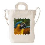 Ruffled Blue and Gold Macaw Duck Bag