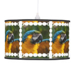 Ruffled Blue and Gold Macaw Pendant Lamp