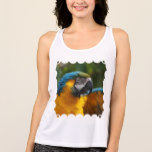 Ruffled Blue and Gold Macaw Tank Top