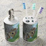 Squirrel Hanging in A Tree Soap Dispenser And Toothbrush Holder