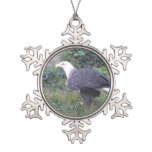 Standing American Bald Eagle Snowflake Pewter Christmas Ornament
